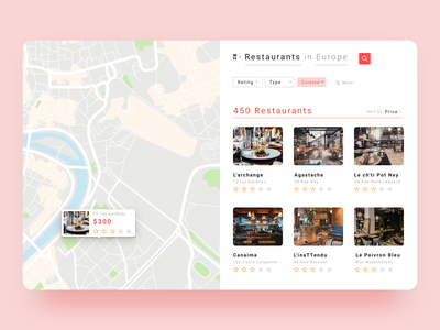 Proposed Search page for Truckfly ux ui app web app ui restaurant app ui sort by map based search restaurants map based search ui  ux design userflow truckfly ui design ui ux