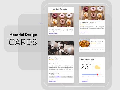 Material Cards uiuxdesign cards in design uidesign ui components clean material design uiux ui cards ui