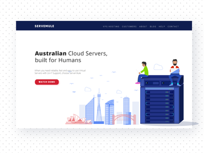 Home Page for a Renowned Cloud ServerFirm in Australia web design ui icons illustration home page design dailyui creative concept tech server flat 2d