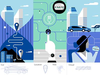 UberEats Exploration graphic design icon icon designer ui interface branding uber app food grid design vector building car illustrations flat illustration uber design ubereats