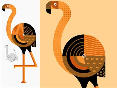 Carribean Flamingo modern illustrations branding caribbean pattern art abstract design pattern geometric design bird shape flat vector flamingo illustration