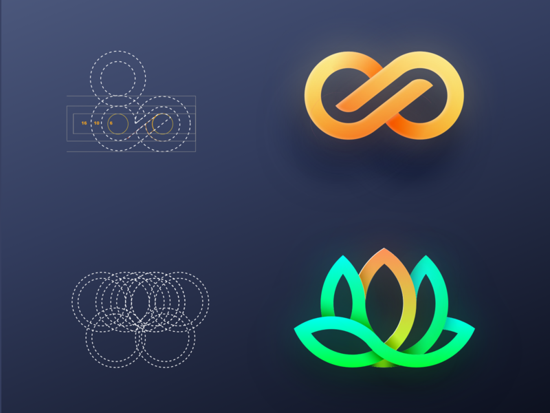 Shapes and Symbols  or Logo from Dribble's Popular branding icons illustration ui vector logo flower illustration golden ratio geometric lotus flower icon flower logo symbols shapes lotus flower