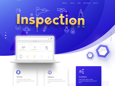 UI UX Landing Page for Inspection Concept driller pliers hammer tools icon alphabet typography machine inspection repairing repair shop ui design