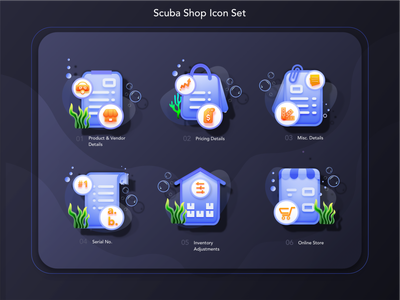 6 Scuba Set Icon Pack - Your Feedback helps.!! icon designer snorkel snorkelling icons vector web icon watersports scuba diving illustration ui illustration icon scuba pricing details illustrations pricing details icon online store illustration inventory adjustment icons product details icon scuba icons