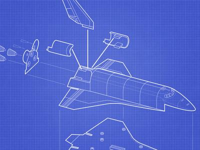 Shuttle Toy Assembly Instructions illustration blueprint model line art
