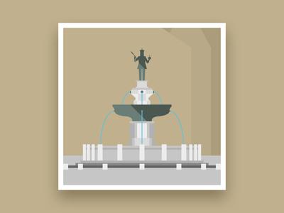 Formsaachen Aachen Karlsbrunnen Fountain Illustration