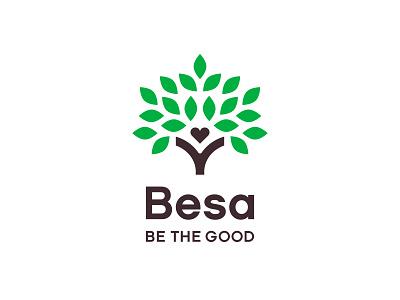 Besa / Lockup trunk brown green volunteer giving leaves lockup identity logo nonprofit heart tree besa