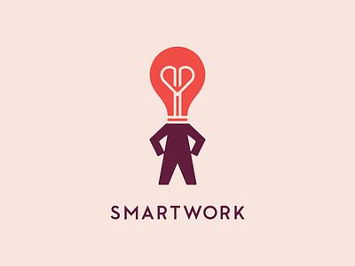 Smartwork confidence confident identity brand logo woman work smart body person heart lightbulb