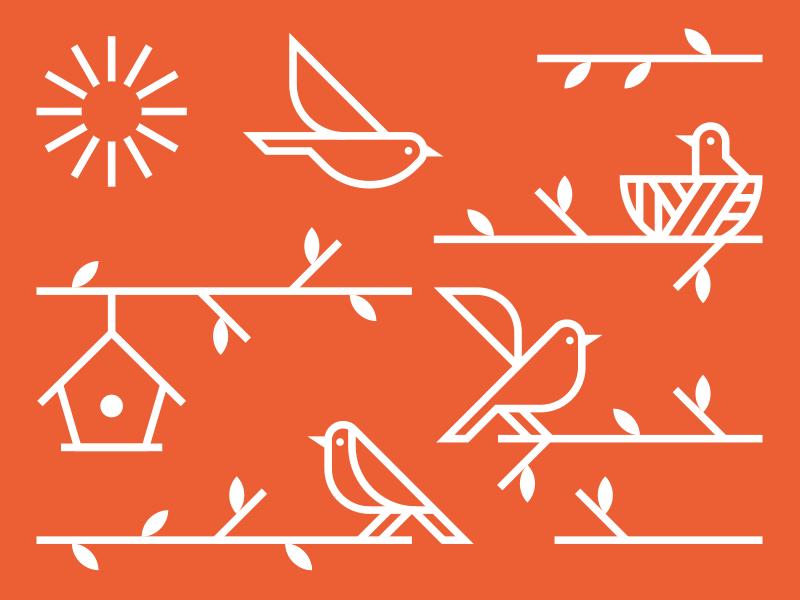 The Perch linear illustration illo orange nature sun bird house tree bird perch