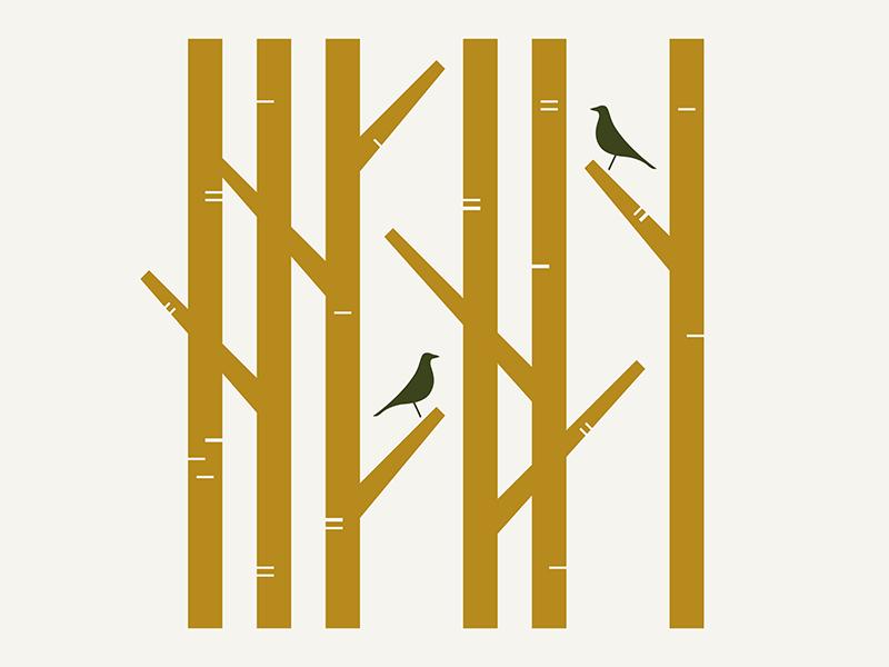 Rush Creek / Nature illustration mid century modern mid-century mid century bird trees tree nature