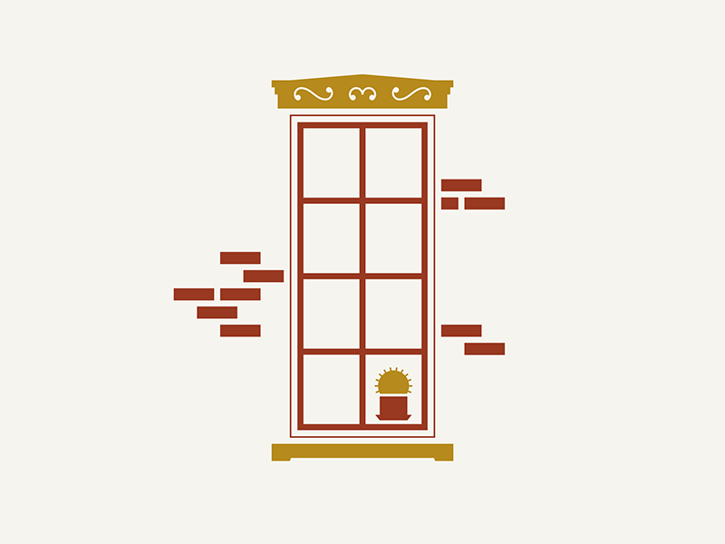 German Village / Window thankful corner house letterpress illustration cactus plant brick window