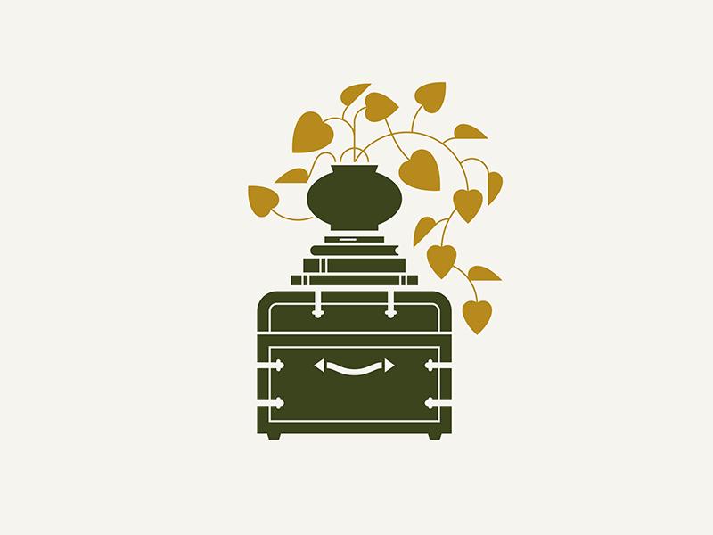 German Village / Eclectic green planter eclectic illustration vase stack book books ochre trunk plant letterpress home