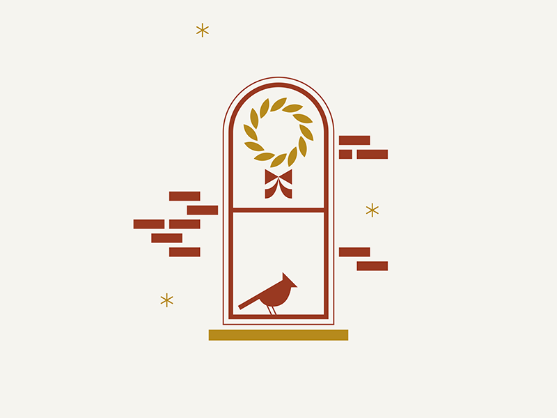 German Village / Holiday snow ochre red home illustration letterpress brick bow bird window wreath holiday christmas