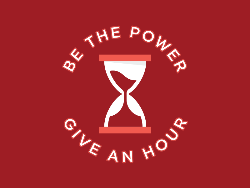 Dress for Success drive illustration maroon red sand time donate give power hourglass