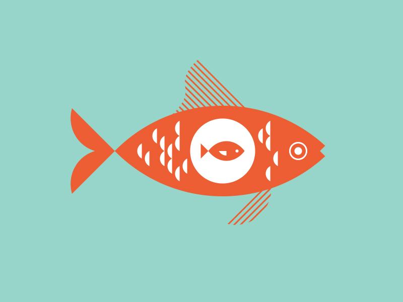Fish in a Fish scales fins illustration orange pregnant fish