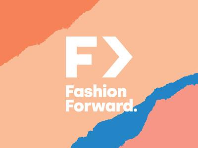 Fashion Forward / Logo blue orange peach pink f arrow femme color palette paper torn forward fashion identity logo