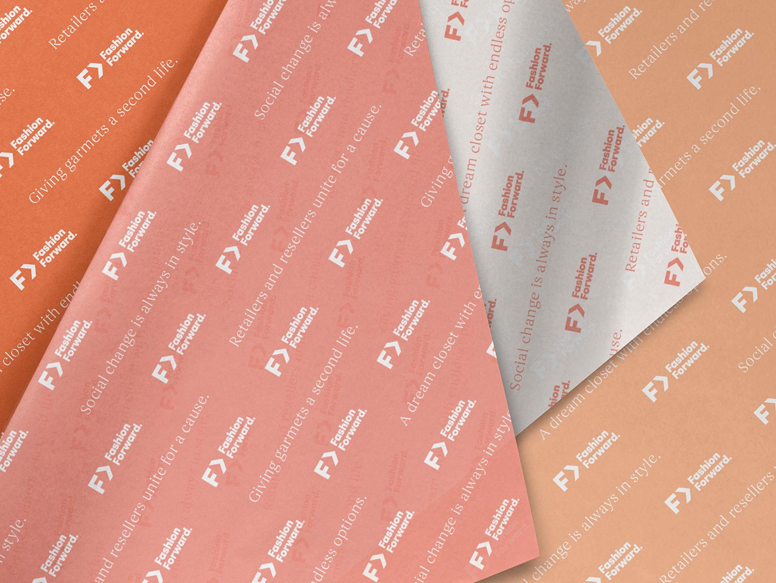 Fashion Forward / Tissue tissue paper orange peach pink femme color palette paper forward fashion identity logo