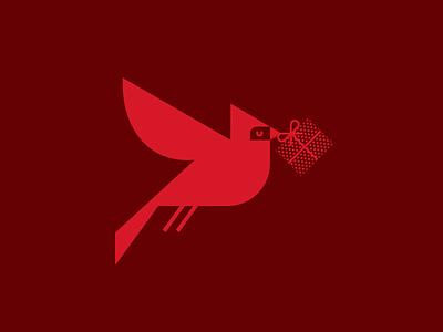 Holiday Bird flying present red christmas holiday gift cardinal bird