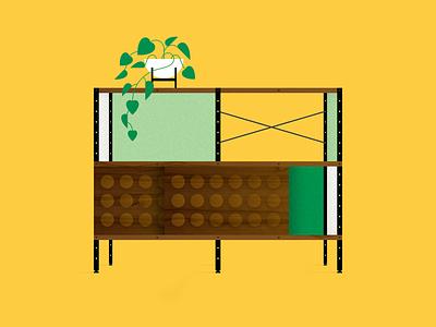 Modernica texture illustraion vector walnut wood modern yellow green plant pot ceramic case study modernica
