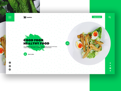 Foodfotie landing page minimal ui website landingpage green blog food