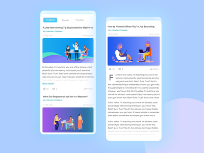 Blog Mobile UI uiux appdesign blogger community design app iphone iphonex uidesign blog design app minimal ui