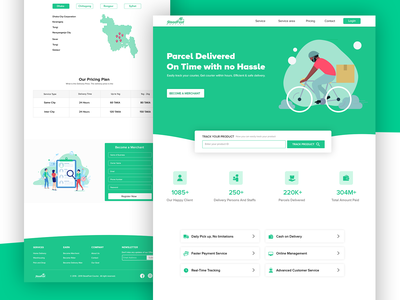 Courier Landing Page homedelivery courier uidesign landing page ui designs uiux