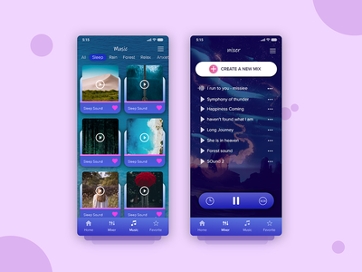 Sleep & Meditation Sound appdesign design app iphonex uiux ui sound music ios sleep meditation app