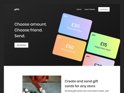 Gift Card Generator button dots grabient gift card ui gradient landing page homepage card