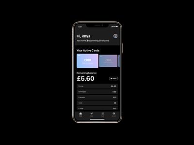 Gift Card App app design product design money bank ios app card