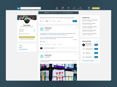 LinkedIn UI Refresh card landing page buttons flat feed button social media homepage design ui design ui refresh ui gradient homepage ui ux