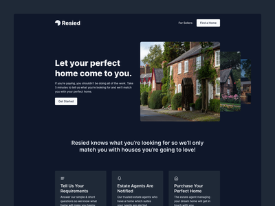 SaaS Landing Page - Resied homepage website design estate agent tailwindcss home house landing page website saas website saas landing page saas