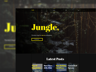 Jungle - Nature Blog Website Design hero grid nature design website blog