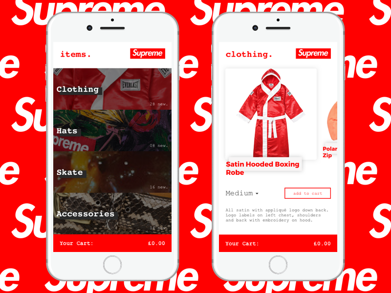 Supreme App ReDesign card clothing hypebeast e-commerce ecommerce mobile app supreme