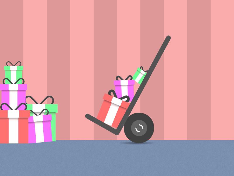 Christmas Delivery Illustration flat presents illustration icon christmas
