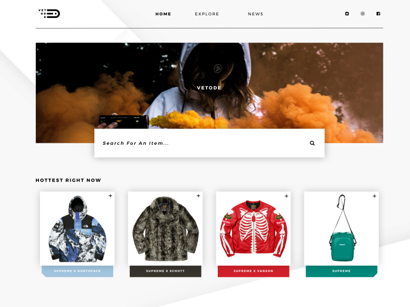 VETODE - Website Exploration explore minimal social navigation smoke hero card showcase website