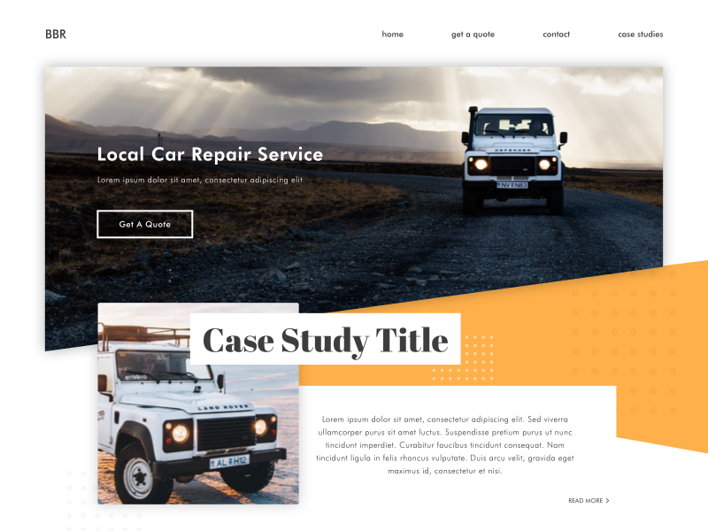 Car Body Repair Homepage car body repait car repair body car shadow shapes web-design homepage