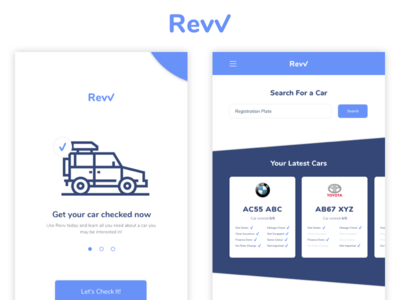 Revv - Branding an App Design car checker card check log-in sign-up car search branding app