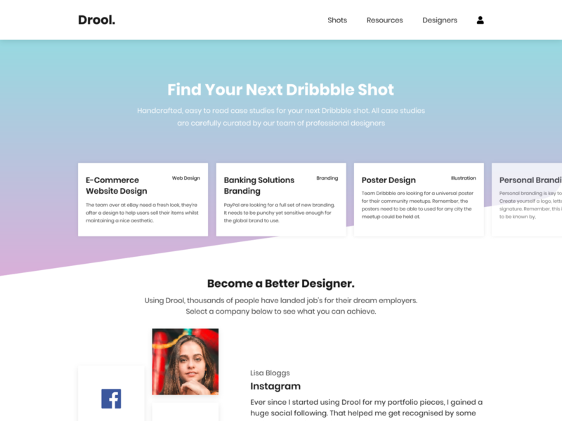 Drool - Dribbble Shot Ideas homepage flat shadow shot idea gradient card dribbble shot