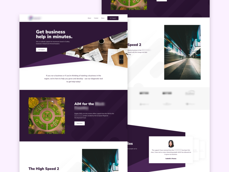 Business Homepage case studies slider navigation design purple buttons card corporate business ui landing page flat shadow homepage