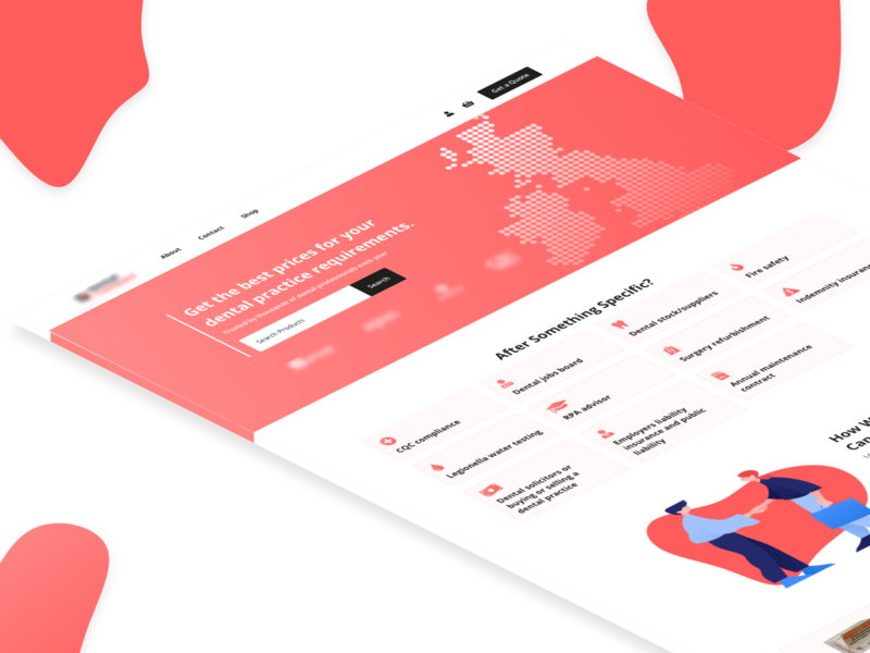 Dentist Landing Page landing page design card search ui shadow buttons homepage gradient dentist illustration landing page