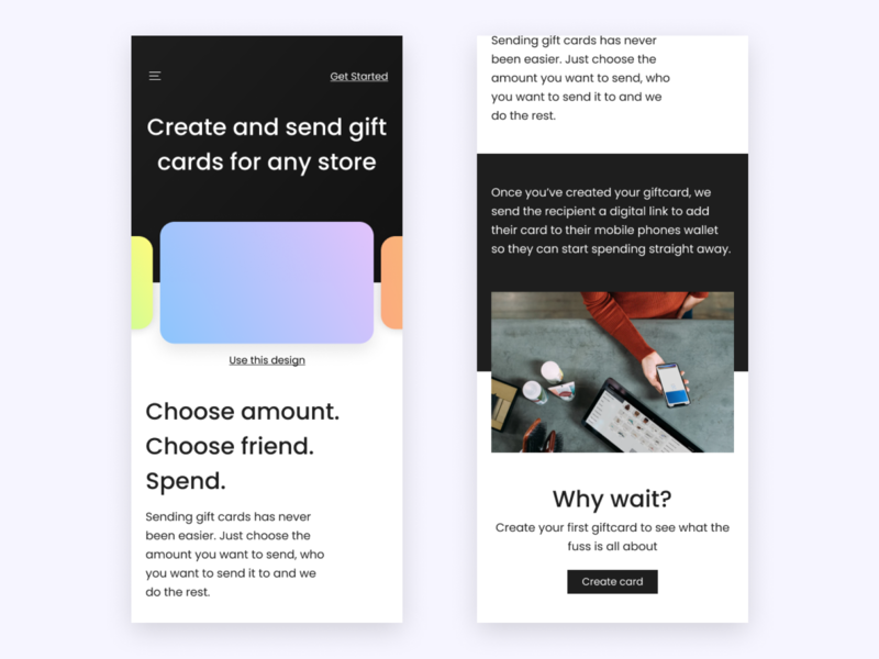 Mobile landing page iphone x ui homepage gradient flat shadow landing page design mobile landing page gift card