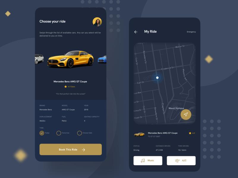 Luxury Rental Car ride rental luxury car mobile app ux ui design