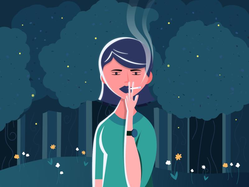 Smoking in the Park green night park smoke smoking illustrator vector sketch art illustration design