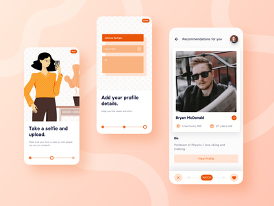 Dating App sketch illustration mobile app ux ui design