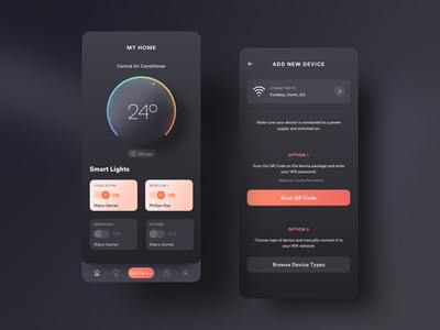 Smart Home black dark home smarthome smart sketch mobile app ux ui design
