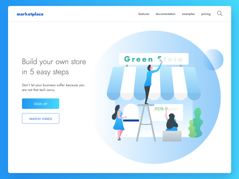 Marketplace market illustration design app web ux ui