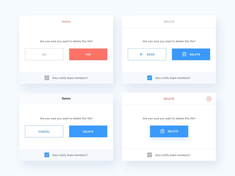 Alerts modal popup design app web ux ui