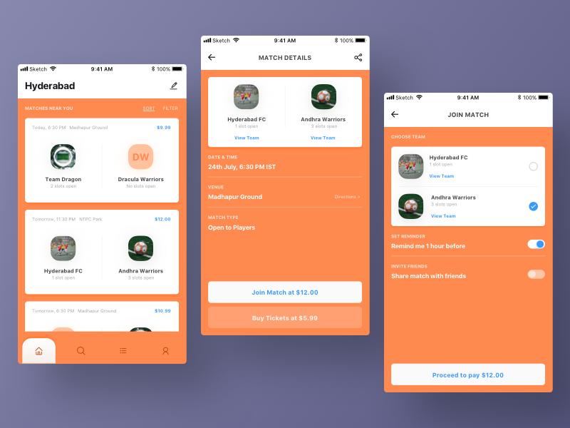 Football match sports soccer football design app mobile ux ui