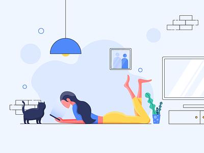 Leisure Time home livingroom cat leisure illustrator vector art web illustration design