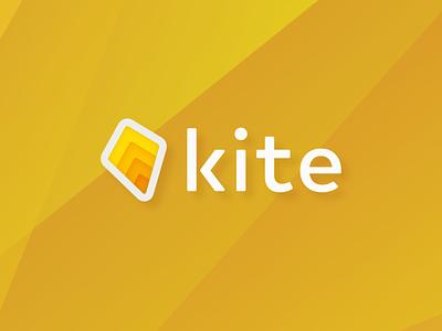 Kite concept ui abstract vector unused yelow playful kites fast quick kite start up minimal icon app logo modern branding design